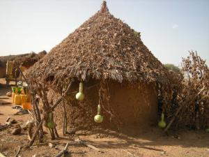 Calebasse sur le toit à Niafala (2)